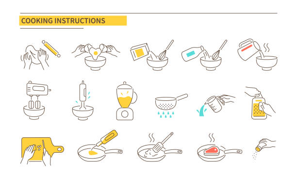 cooking instructions Cooking instructions icons. Recipe guideline symbols. Line style vector illustration isolated on white background. cooking icons stock illustrations