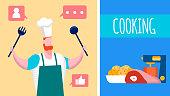 Cooking Internet Blog, Vlog Vector Illustration
