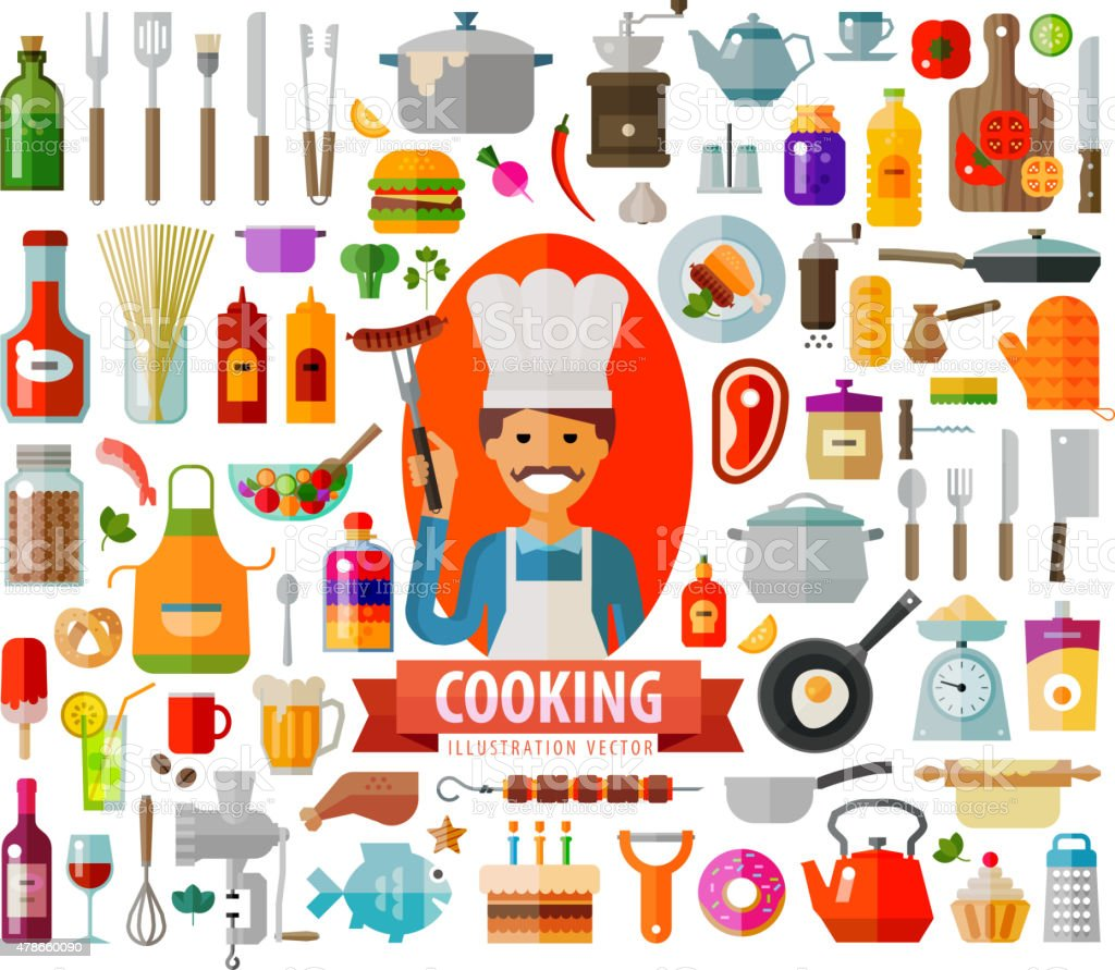 cooking. kitchen, food icons set. vector. flat illustration vector art illustration