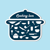 Cooking, kitchen sticker. Kitchen utensils icon or logo. Lettering Cooking love. Vector illustration.