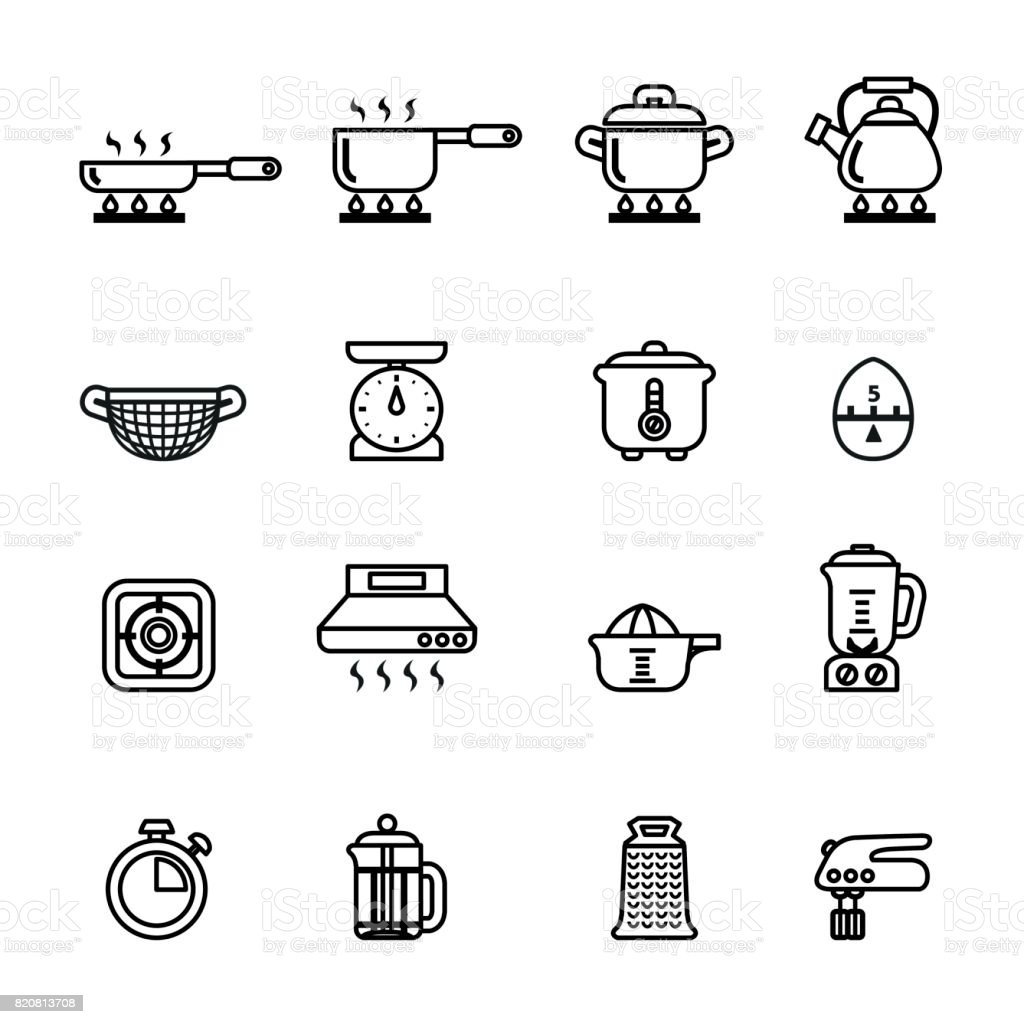cooking, kitchen tools and utensils icons set. Line Style stock vector. vector art illustration
