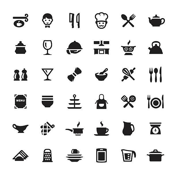 stockillustraties, clipart, cartoons en iconen met cooking & kitchen utensil vector symbols and icons - servet