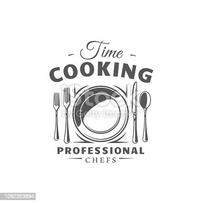 Cooking label isolated on white background. Design element. Vector illustration