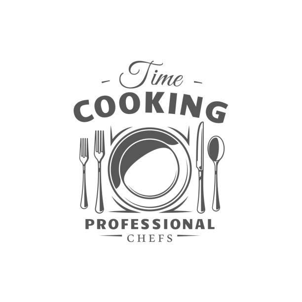 Cooking label isolated on white background Cooking label isolated on white background. Design element. Vector illustration kitchen knife stock illustrations