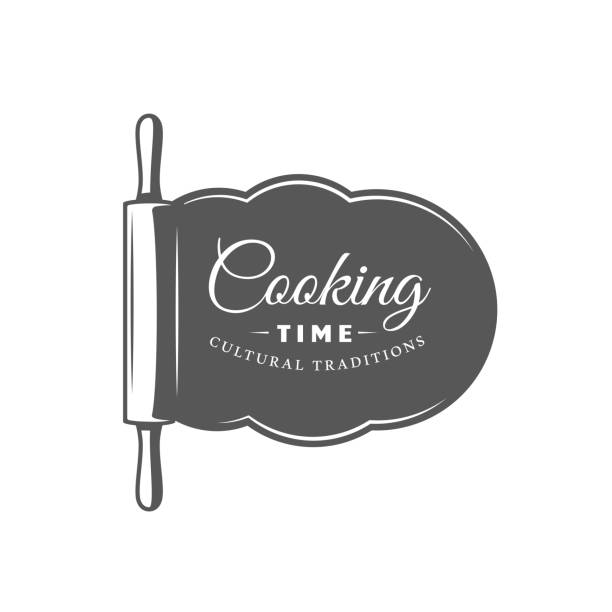 Cooking label isolated on white background Cooking label isolated on white background. Design element. Vector illustration rolling pin stock illustrations