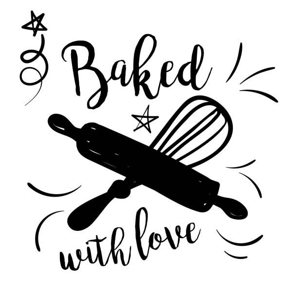 Cooking Label With Text Cute Doodled Cooking badge or Label With Text rolling pin stock illustrations