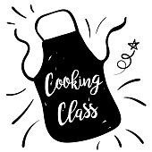 Cute Doodled Cooking badge or Label With Text