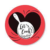Cute Doodled Cooking badge or Label With Text in a red circle.