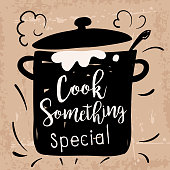 Cute Doodled Cooking badge or Label With Text on a textured background