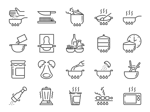 Cooking line icon set. Included icons as kitchen, Bake, Boil, BBQ, Fry, Stew and more.