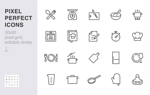 Cooking line icon set. Kitchen tools - pan, pot, dinner utensil, cookbook, chef hat minimal vector illustration. Simple outline sign of food recipe instruction. 30x30 Pixel Perfect, Editable Stroke Cooking line icon set. Kitchen tools - pan, pot, dinner utensil, cookbook, chef hat minimal vector illustration. Simple outline sign of food recipe instruction. 30x30 Pixel Perfect, Editable Stroke. cooking icons stock illustrations