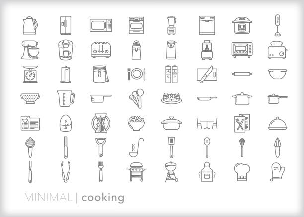 Cooking line icon set Set of more than 50 cooking line icons for food and meal prep, baking, and cooking at home or at a restaurant kitchen measuring cup stock illustrations