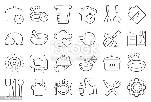 istock Cooking line icons. Boiling time, Frying pan and Kitchen utensils. Vector 1169215863