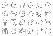 Cooking line icons. Boiling time, Frying pan and Kitchen utensils. Vector