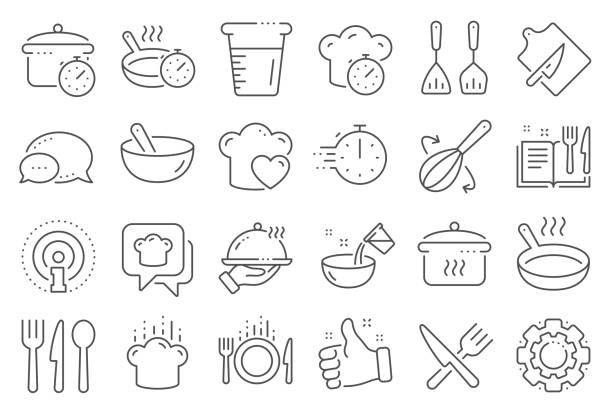 Cooking line icons. Boiling time, Frying pan and Kitchen utensils. Vector Cooking line icons. Boiling time, Frying pan and Kitchen utensils. Fork, spoon and knife line icons. Recipe book, chef hat and cutting board. Cooking book, frying time, hot pan. Line signs set. Vector cooking icons stock illustrations