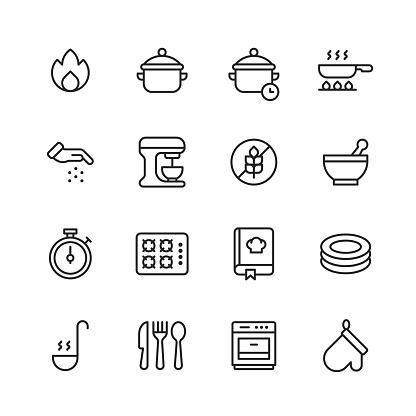 16 Cooking Outline Icons. Fire, Pot, Cooking Time, Frying Pan, Frying, Seasoning, Relish, Spice, Mixer, Gluten Free, Bowl, Mixing, Gas Stove, Cooking Book, Recipe, Dishes, Soup, Cutlery, Fork, Knife, Spoon, Oven Glove.