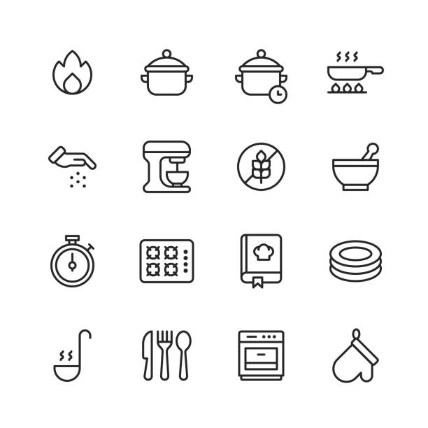 Cooking Line Icons. Editable Stroke. Pixel Perfect. For Mobile and Web. Contains such icons as Fire, Pot, Frying Pan, Frying, Seasoning, Relish, Spice, Mixer, Gluten Free, Bowl, Gas Stove, Recipe, Dishes, Soup, Cutlery, Fork, Knife, Spoon, Oven Glove. 16 Cooking Outline Icons. Fire, Pot, Cooking Time, Frying Pan, Frying, Seasoning, Relish, Spice, Mixer, Gluten Free, Bowl, Mixing, Gas Stove, Cooking Book, Recipe, Dishes, Soup, Cutlery, Fork, Knife, Spoon, Oven Glove. cooking icons stock illustrations