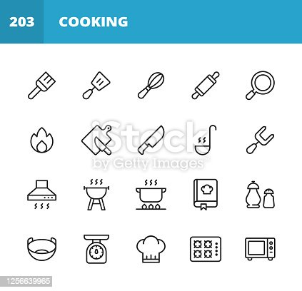 20 Cooking Outline Icons. Pastry Brush, Spatula, Whisk, Rolling Pin, Frying Pan, Kitchen Knife, Chopping Board, Slicing, Paddle, Fork, Cooker Hood, Grill, Cooking, Boiling, Salt and Pepper, Seasoning, Pan, Bowl, Kitchen Scales, Chef Hat, Microwave.
