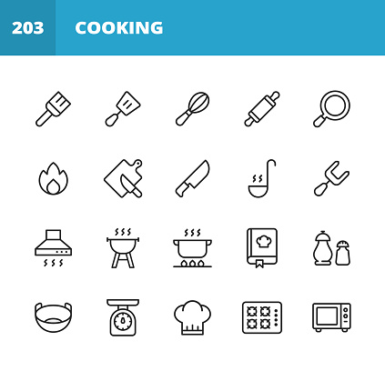 Cooking Line Icons. Editable Stroke. Pixel Perfect. For Mobile and Web. Contains such icons as Pastry Brush, Spatula, Whisk, Rolling Pin, Frying Pan, Kitchen Knife, Paddle, Fork, Cooker Hood, Grill, Pan, Bowl, Chef Hat, Microwave, Chopping Board, Food.