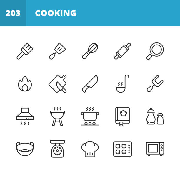 Cooking Line Icons. Editable Stroke. Pixel Perfect. For Mobile and Web. Contains such icons as Pastry Brush, Spatula, Whisk, Rolling Pin, Frying Pan, Kitchen Knife, Paddle, Fork, Cooker Hood, Grill, Pan, Bowl, Chef Hat, Microwave, Chopping Board, Food. 20 Cooking Outline Icons. Pastry Brush, Spatula, Whisk, Rolling Pin, Frying Pan, Kitchen Knife, Chopping Board, Slicing, Paddle, Fork, Cooker Hood, Grill, Cooking, Boiling, Salt and Pepper, Seasoning, Pan, Bowl, Kitchen Scales, Chef Hat, Microwave. cooking icons stock illustrations