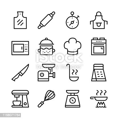 Cooking line icons set. Modern graphic design concepts, simple linear outline elements collection. Thin line design. Vector line icons
