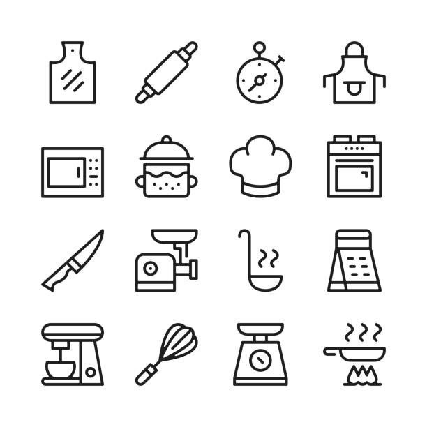 Cooking line icons set. Modern graphic design concepts, simple linear outline elements collection. Thin line design. Vector line icons Cooking line icons set. Modern graphic design concepts, simple linear outline elements collection. Thin line design. Vector line icons frying pan stock illustrations