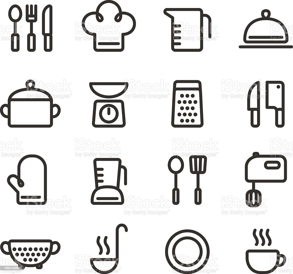 Cooking line icons vector art illustration
