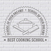 cooking logo or template on a white brick wall