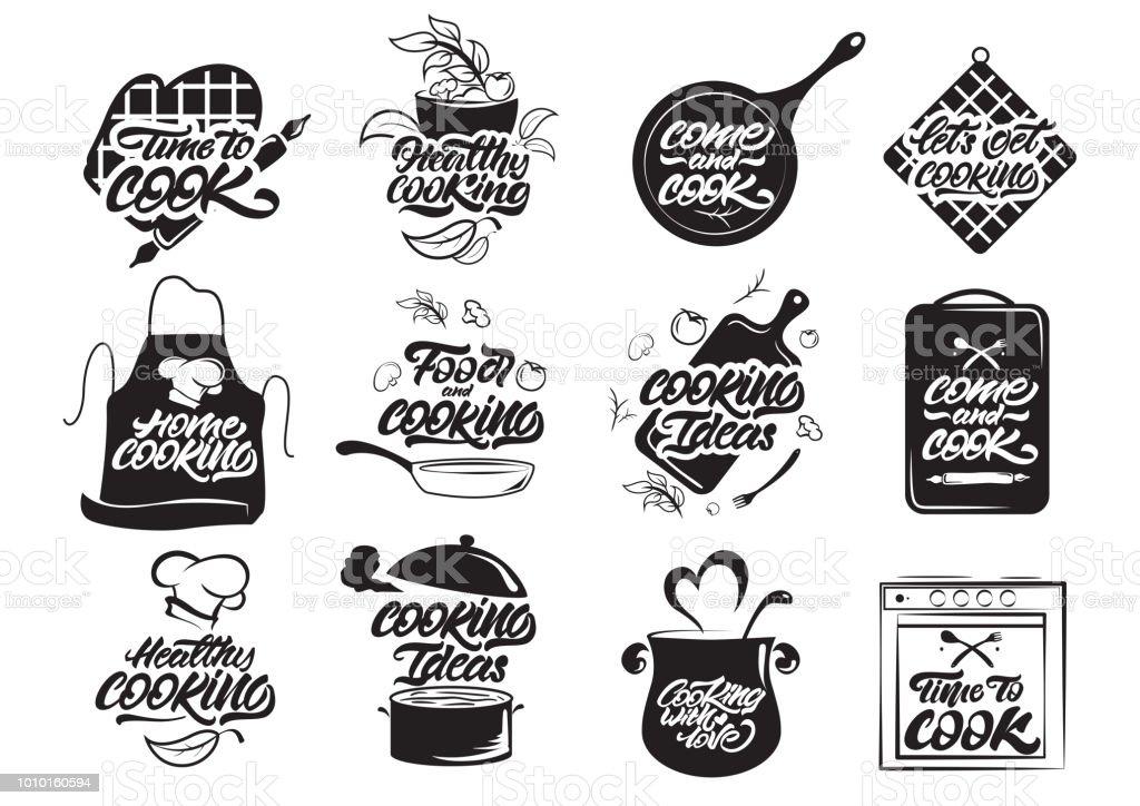 Ilustracion De Logos De Cocina Conjunto Cocinar Sano Idea De Cocina Cocinero Chef Icono De Utensilios De Cocina O Logo Ilustracion De Vector De Letras Y Mas Vectores Libres De Derechos De