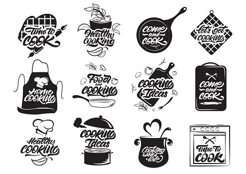 Cooking logos set. Healthy cooking. Cooking idea. Cook, chef, kitchen utensils icon or logo. Lettering vector illustration