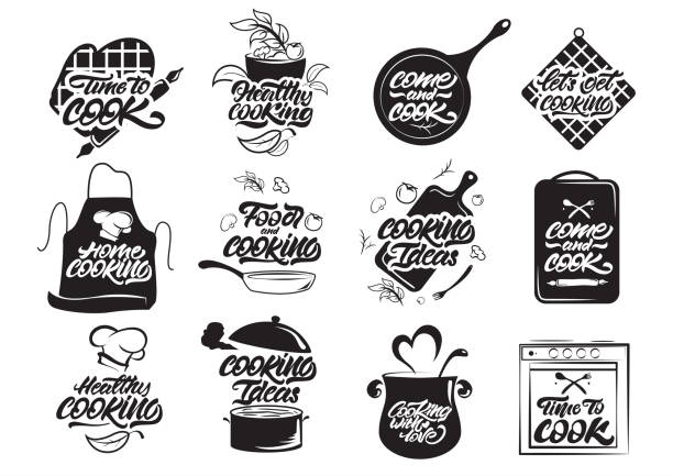 Cooking logos set. Healthy cooking. Cooking idea. Cook, chef, kitchen utensils icon or logo. Lettering vector illustration Cooking logos set. Healthy cooking. Cooking idea. Cook, chef, kitchen utensils icon or logo. Lettering vector illustration frying pan stock illustrations