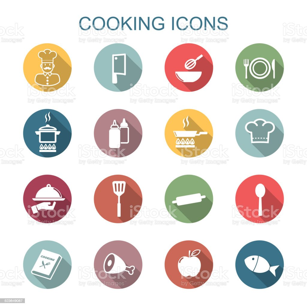 cooking long shadow icons vector art illustration