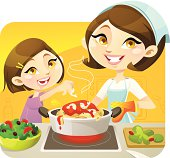 Vector illustration of a cheerful mother cooking with her girl. These delightful characters are great for cooking/family activity related topic. The hair/eye colour can be edited in Adobe Illustrator easily.