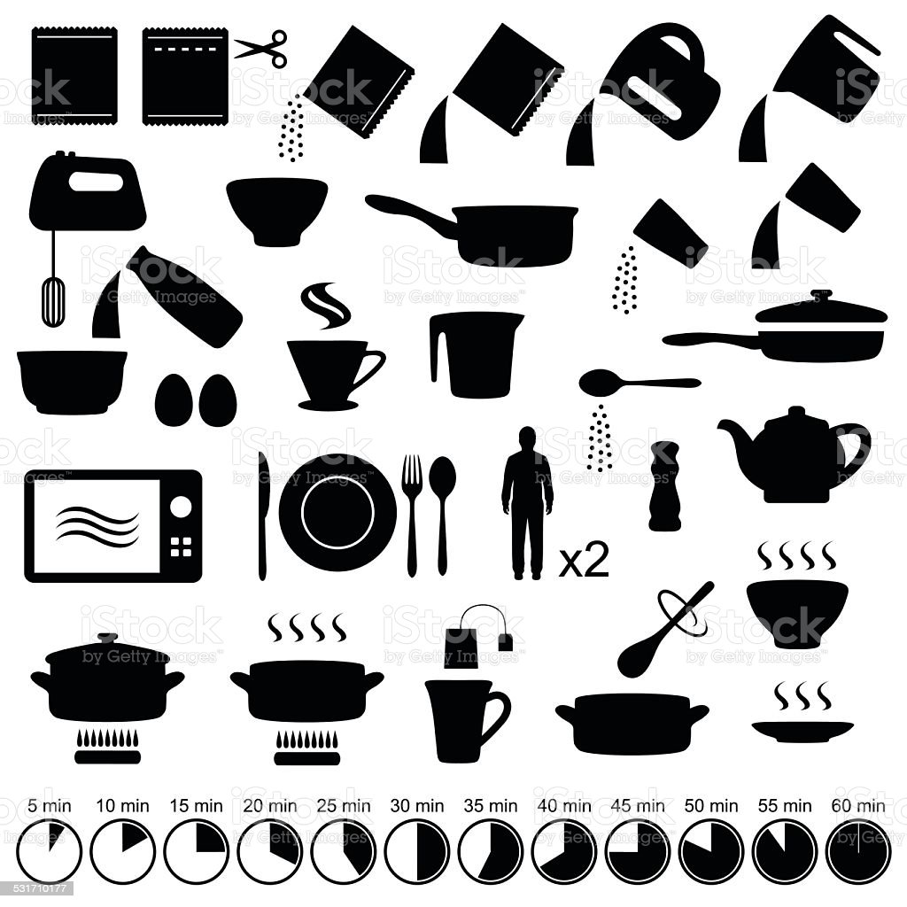 cooking manual instructions, vector art illustration