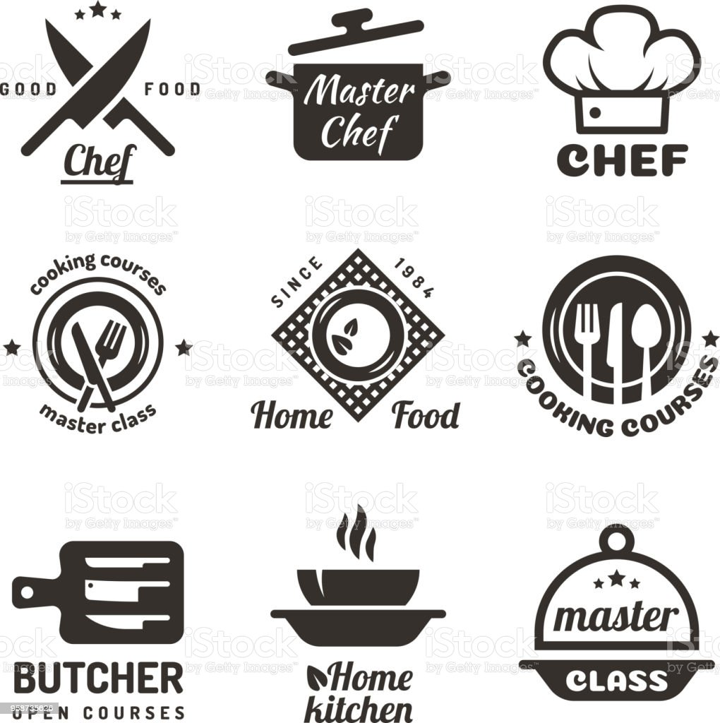 Cooking master classes labels. Restaurant or cafe menu emblems. Chef vector  isolated on white background - Векторная графика Баннер - знак роялти-фри