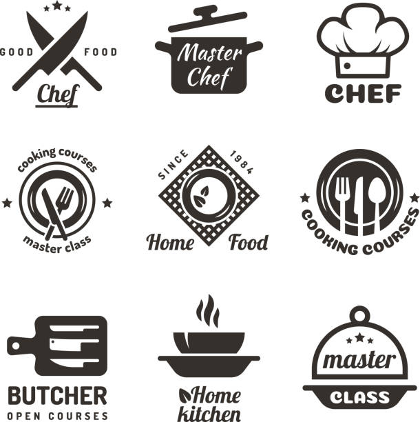 Cooking master classes labels. Restaurant or cafe menu emblems. Chef vector  isolated on white background Cooking master classes labels. Restaurant or cafe menu emblems. Chef vector  isolated on white background. Restaurant class cooking badge illustration cooking icons stock illustrations