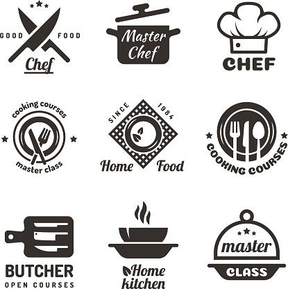 Cooking Master Classes Labels Restaurant Or Cafe Menu Emblems Chef Vector Isolated On White Background — стоковая векторная графика и другие изображения на тему Баннер - знак