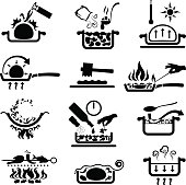Single colour symbols showing cooking methods. More cooking symbols >