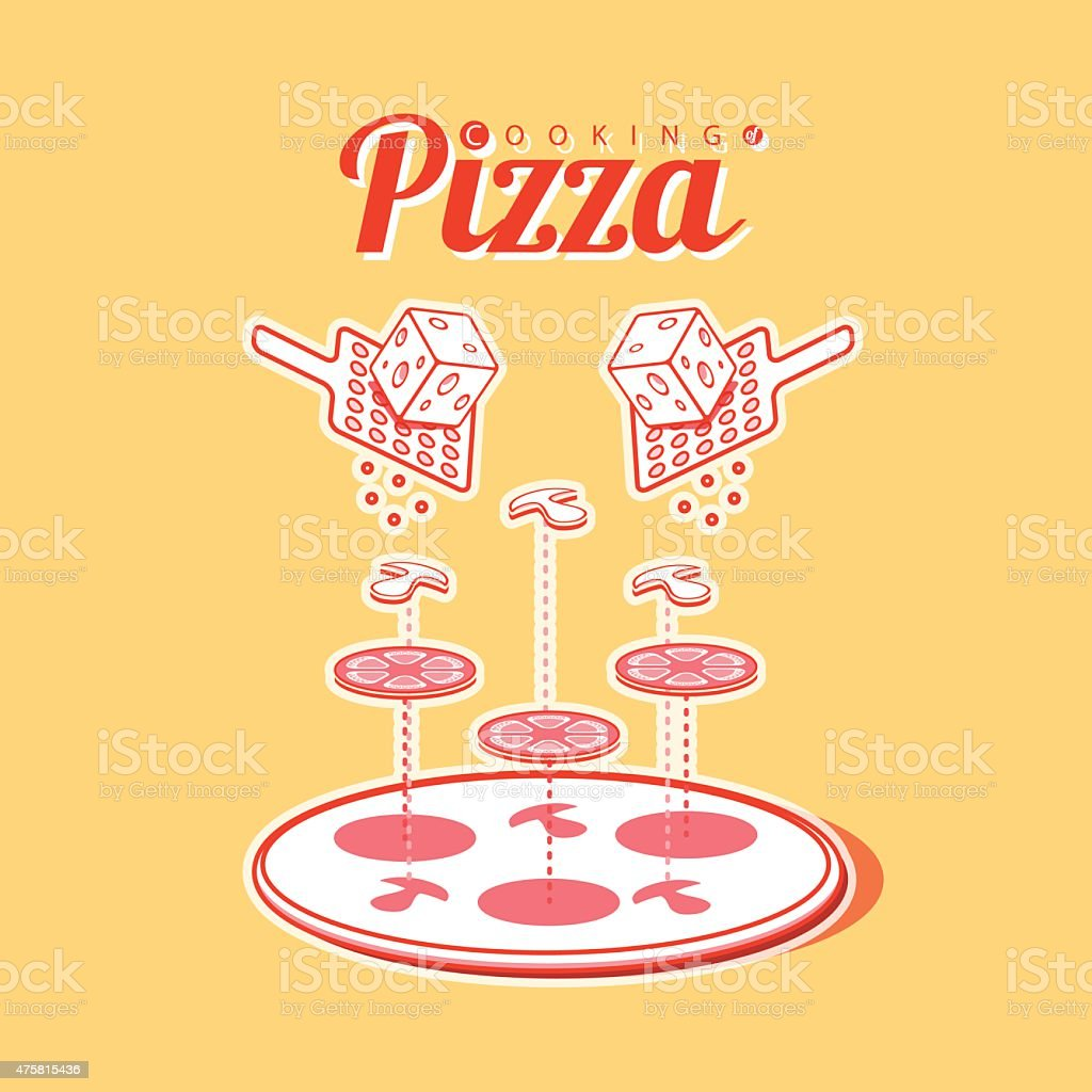 Cooking of pizza vector poster infographics vector art illustration