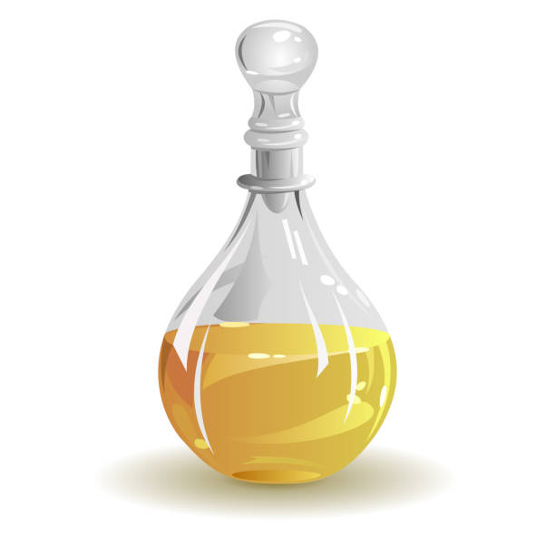 Cooking oil, vector illustration. Glass jug with vegetable cooking oil. Hand drawn vector illustration on white background. laboratory flask stock illustrations