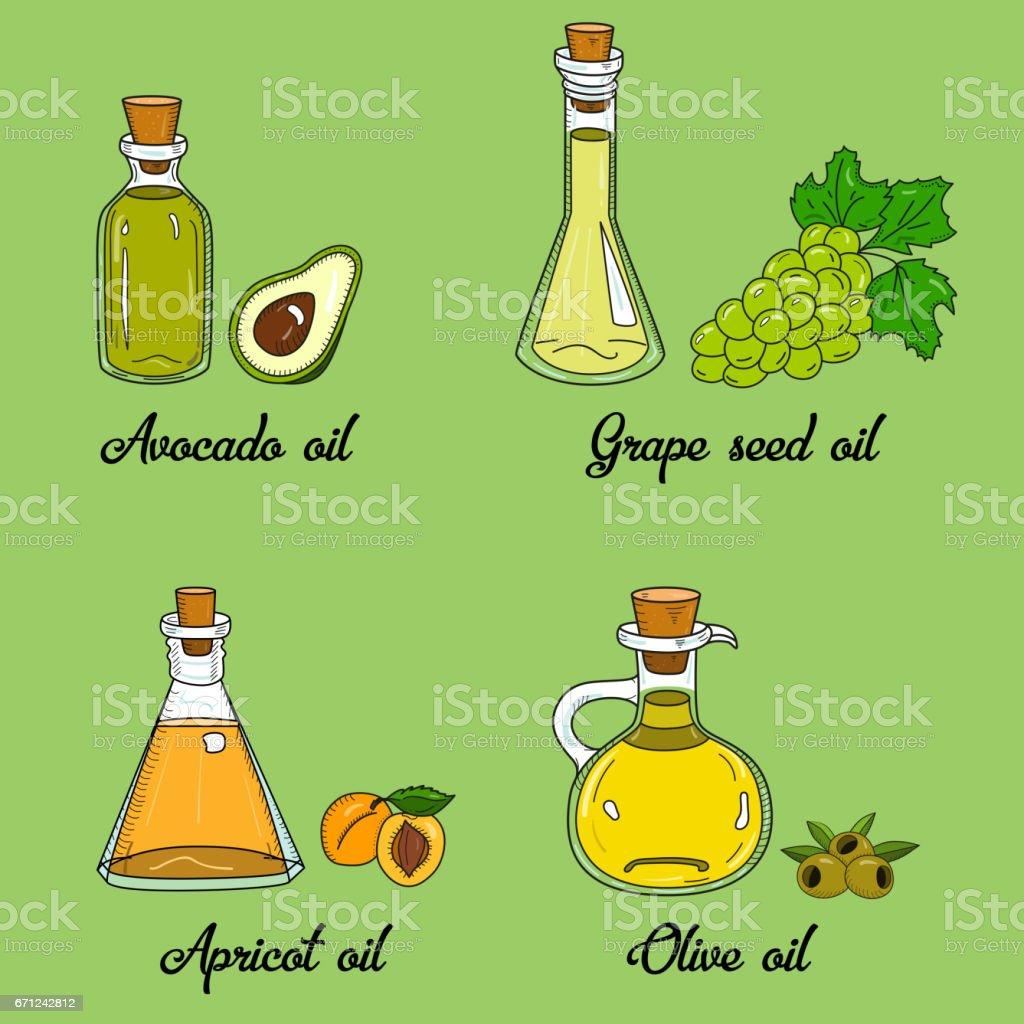 4 cooking oils in cute sketchy bottles vector art illustration