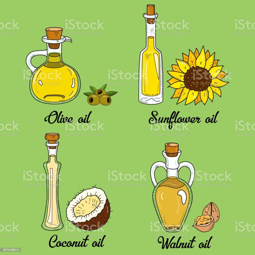 4 aceites en lindos frascos incompletos para cocinar - ilustración de arte vectorial