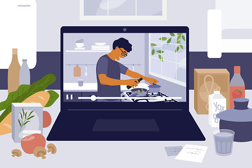 Cooking online master class or video blog with man preparing homemade meal