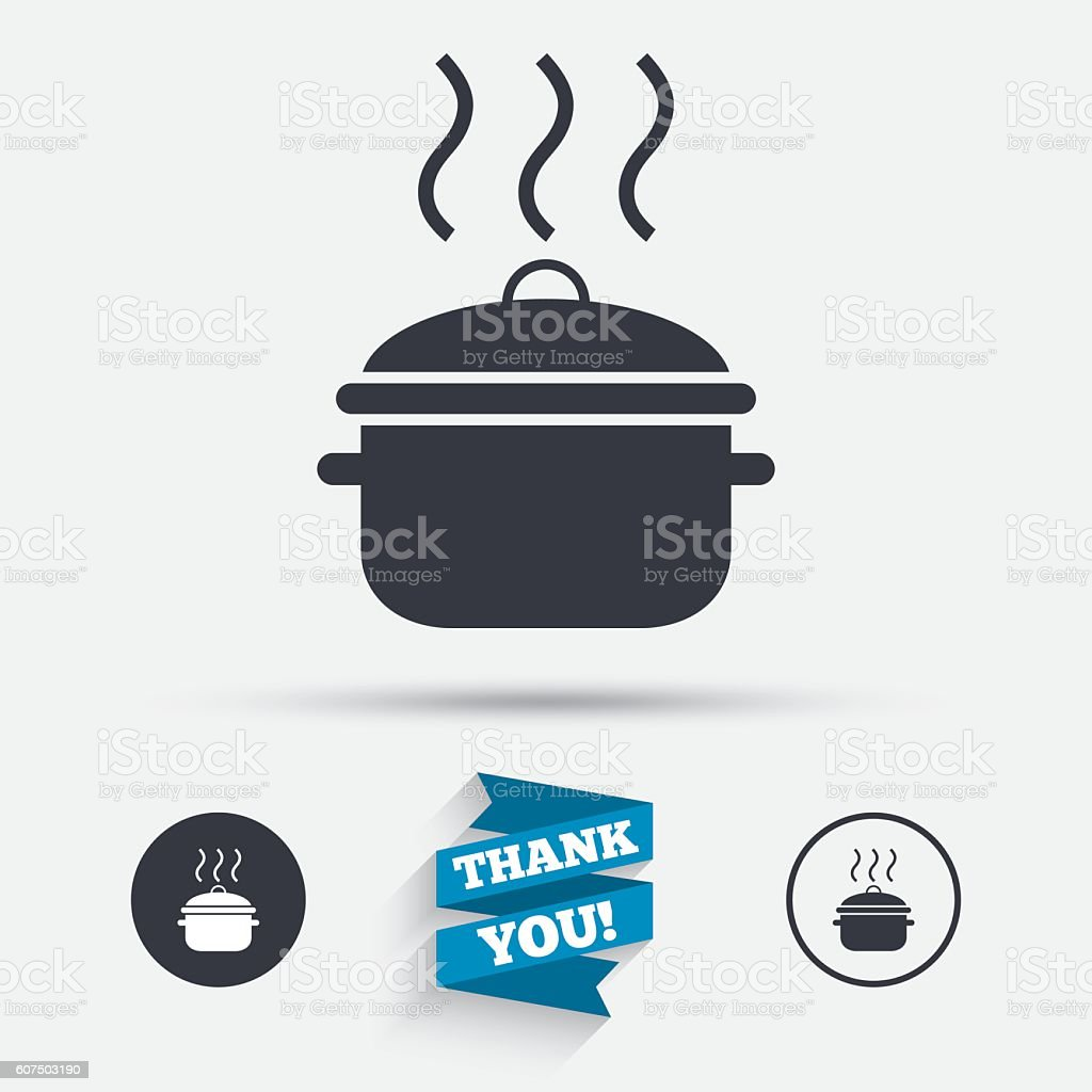 Cooking pan sign icon. Boil or stew food symbol. vector art illustration