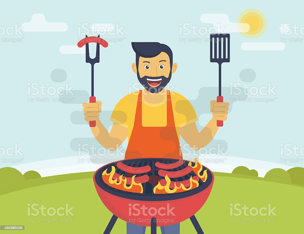 BBQ cooking party vector art illustration