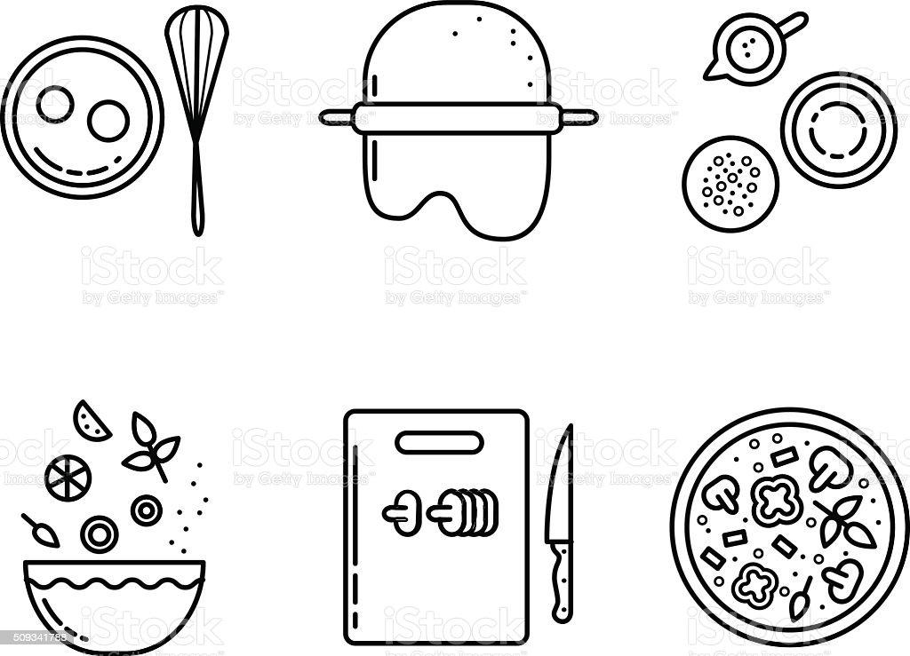 Pizza línea de conjunto de iconos de la cocina - ilustración de arte vectorial