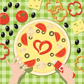 Vector illustration: top view to table with pizza, vegetables and hands. Tablecloth seamless pattern.