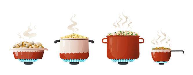 Cooking pot. Cartoon saucepan and kitchenware equipment on gas with boiling food and steam. Utensil for preparing meal on fire. Household crockery set. Vector side view of dinnerware