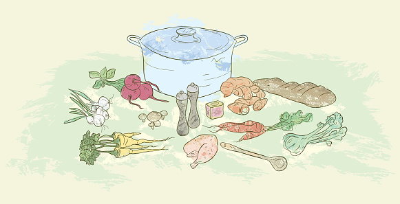 Cooking pot, foods and ingredients related to soup making