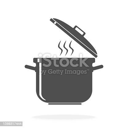 istock Cooking Pot Icon - Vector Illustration Symbol 1259317444